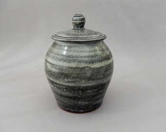 Ceramic Jar - Lidded Charcoal Gray Pottery Jar