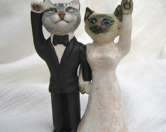 Wedding Cats Bride and Groom Lucky Cat Wedding Cake Topper