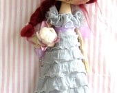 OOAK  Art Doll, hand made  ,hand painted  , cloth doll  ,collectable doll , in soft grey and lilac