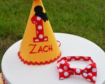 Mickey Mouse Birthday Hat and Bow Tie, Personalized