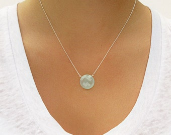 Round Aqua Chalcedony Pendant Necklace