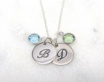 2 Script Initial and Birthstone Necklace - Personalized Jewelry - Silver Initial Necklace - Mommy Necklace - Initial Necklace