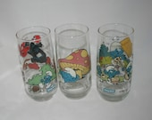 Smurf Glasses Set of 3 Vintage Smurf Drinking Glasses Painted Tumblers 80s Cartoon Show The Smurfs Collectible Glassware Lazy Grouchy Smurf