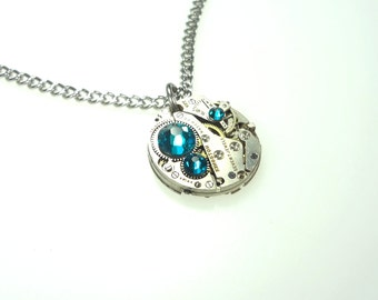 Steampunk Clockwork Necklace With Turquoise Swarovski Crystals DB-1229-13