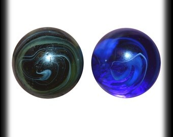 """Two Antique Slag Marbles - Transparent Cobalt Blue and Olive Green - Wispy White Swirls - Old Glass Marbles both 43/64"""" - Have a Look!"""