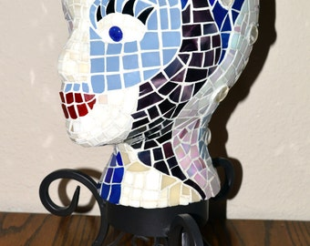 Artisan Hand Cut / Inlayed Glass Mosaic Female Sculpted Head /Black Metal  Stand