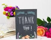 Thank You Card - Thanks Card - Chalkboard Card - Wedding Thanks Card - Friend Thank you Card - Thanks Card For Her - Teacher Thankyou Card