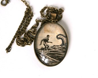 Geek jewelry. Wearable art. Upcycled necklace. Original collage art pendant necklace. Illustration jewelry. Surfer gift. Retro beach art.