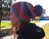 Colors of the Wind || Hand  Knit Pom Pom Slouchy Beanie Chunky Knit