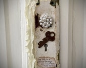 Vintage Shabby Chic Doorplate - Wallhanging - Repurposed Vintage - Escutcheon - Altered Vintage - Shabby Chic - Cottage - Decor - Gifts