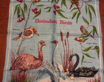NEW Vintage Linen Kitchen Towel Australia Souvenir Australian Birds