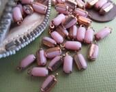 Vintage Swarovski Rectangular Opaque Pink Closed Back Drops With Hoop