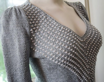 Puff Sleeve 1980s Sweater Pale Silver Grey Pearl Embellished Beaded V Neck Glam Sweater