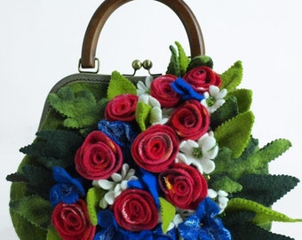 "Boho Eco Handbag Handmade ""Rosali"" (felted boho-chic eco-friendly handbags buy)"