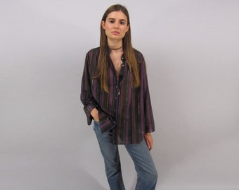 Vintage 70s Boho Striped Top, Lurex Blouse, Hippie, Oversized 70s Top, Bohemian Top Δ fits sizes: xs / sm / md