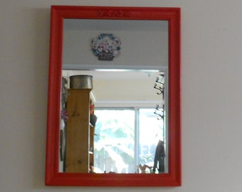 Candy Apple Red Wood Framed Mirror - Top Center Embellished Resin Flowers - Vintage Wood Wall Mirror
