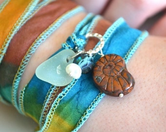 Hand Dyed Silk Ribbon Bracelet/Necklace with Sea Glass, pearl and czech glass nautilus bead Pendant