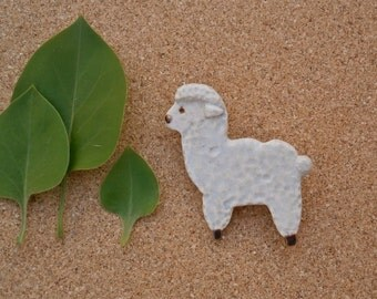 Ceramic lamb brooch - handmade sheep pin - pottery cream badge