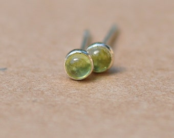 Peridot Earrings handmade with Sterling Silver Studs. 3mm Cabochon Gemstone and silver earrings. Pale green, 925 silver jewelry, birthdays