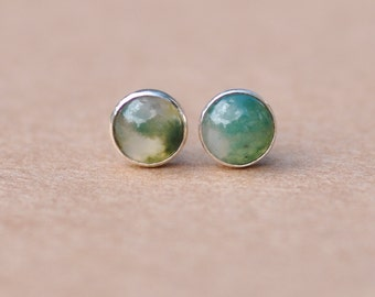 Agate Earrings handmade with Sterling Silver Earring studs, 5 mm Green Moss Agate natural cabochon gemstones. ideal gift,  quality, unique