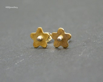 Brass Flowers Sterling Silver Stud Post Earrings