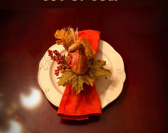 Set of Four Thanksgiving Table Napkin Rings Fall Berry Napkin Rings Autumn Table Fall Floral Arrangement Centerpiece Rustic Fall Home Decor