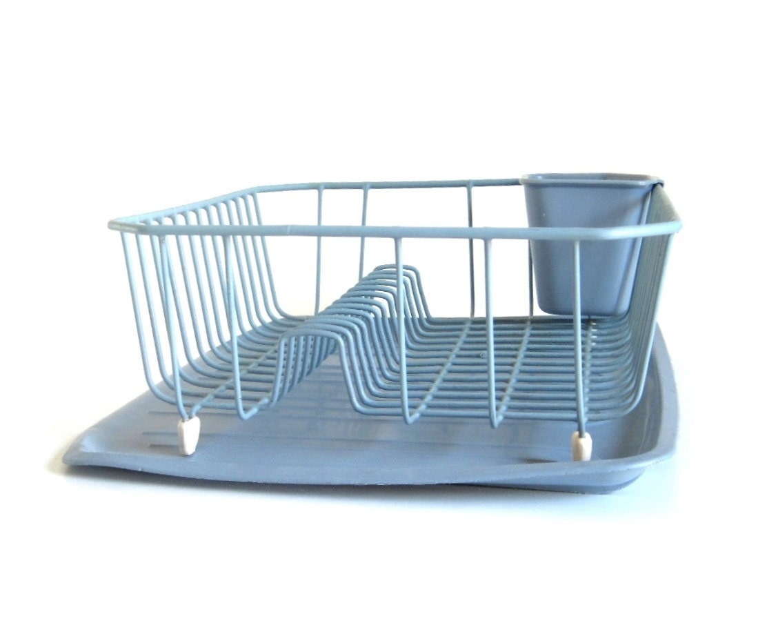 Rubbermaid Wire Dish Rack Metal Light Blue 1980s Kitchen