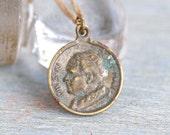 Antique Pope Medallion Necklace - Pius XI Pont Max - Pope Ambrogio Damiano Achille Ratti - Souvenir from Rome