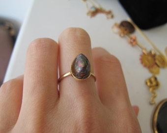 Vintage Boulder Opal 14k Yellow Gold Conversion Ring