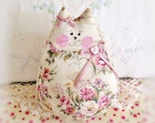 """Cat Doll 6""""  Free Standing Kitty, Ivory Dusty Rose Green, Cat Doll, Cottage Chic Primitive Handmade CharlotteStyle Decorative"""