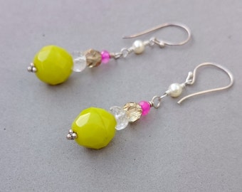 Chartreuse Green Earrings with Rock Crystal, Hot Pink Chalcedony, Swarovski Pearl, Czech Glass and Sterling Silver