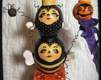Halloween Folk Art Bee Sculpture Art Doll JOL Collectible Mibrky Creations OOAK