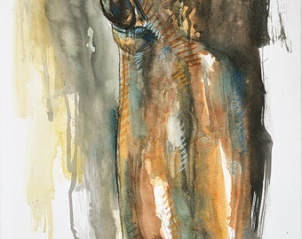 Contemporary Original Fine Art, Watercolor, pastels and Black Chalk Painting of a Horse Eye, Animal Art