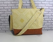 Extra Large Lulu Tote Messenger Travel Diaper Bag - Solana Yellow and PU Leather with Grey Lining - READY to SHIP  Nappy Attach to Stroller