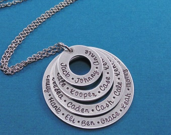 Personalized Hand Stamped Necklace - Personalized Name Necklace for mom or grandmother - Hand Stamped Family Necklace