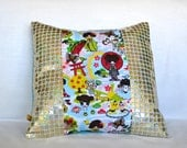 Anime Print with Gold Glitter Sequin Pillow Cover