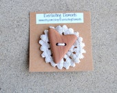 Heart Shaped Red Cedar Wooden Button - Handmade Wood Button