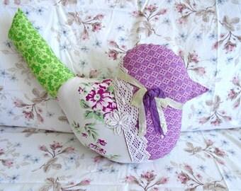 SALE~Sweet Bird Shaped Pillow / Large Bird Pillow / Purples And Greens /  Vintage Fabric Bird / Purple Bird / Bird Decor /Bird Accent Pillow