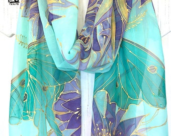 Floral Summer Scarf, Mint Chiffon Scarf, Handpainted Scarf, Mint Green Luna Moth with Purple and Gold Princess of the Night, Made to order