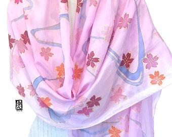 Hand Painted Silk Shawl, ETSY, Long Silk Wrap, Pastel Pink and Gold Japanese Sakura Scarf, Silk Scarves Takuyo, 22x90 inches