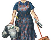 Retro Cartoon Comic Woman With Broom Cleaning Maid Mother - Vintage Art Illustration - Digital Image - Instant Download
