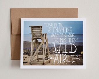 DIY Printable Notecards / Live in the Sunshine / Blank Inside