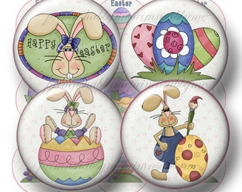4 Easter, Instant Download, Bottle Cap Images, Digital Collage Sheets, 1 Inch Circles, Bunny, Eggs, For Magnets, Cupcake Toppers, Jewelry