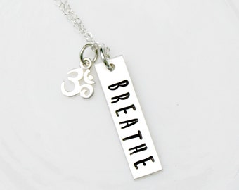 NAMASTE - Hand Stamped Yoga Necklace - Sterling Silver - Just Breathe - Ohm Charm- Lotus Charm - Yoga Jewelry - Yoga Gift
