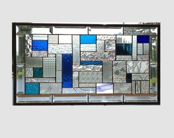 Transom beveled clear stained glass window panel blue geometric abstract stained glass panel window hanging large 0137 24 3/8 x 13 3/4