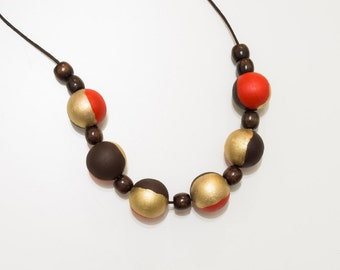Wooden necklace Coral Brown Gold chunky wooden beads, hand painted necklace,  wood gold red beads, wooden bead statement necklace