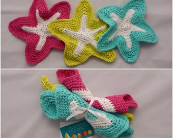 Crochet Dishcloth Gift Set – Includes Gift Card – Starfish - Hot Pink, Aqua & Lime Green