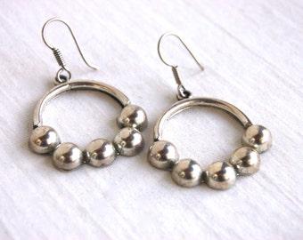 Large Dangle Hoop Earrings Sterling Silver Vintage Mexican Statement Jewelry Hoops Dangles Beaded