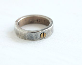 Sterling Silver Bolt Screw Ring Band Vintage Mexican Mixed Metal Size 5 .5 Industrial Jewelry