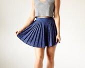Vintage Paisley 90s Black and Navy Blue Pleated Mini Skirt size 6 small medium - B1